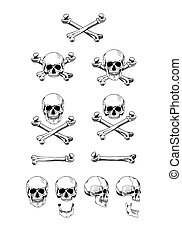 Vector set of skulls, black contour