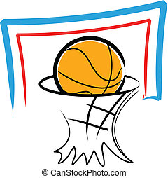 Basketball - Simple illustration of a basketball and a...