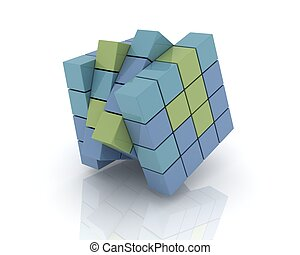 gray cubes stcked on white background.Digitally Generated...
