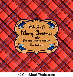 Christmas plaid tartan pattern card, red - Christmas plaid...