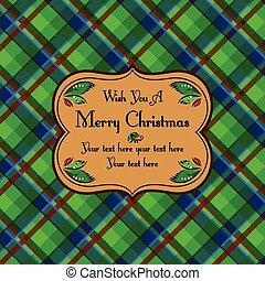 Christmas plaid tartan pattern card, green beige style