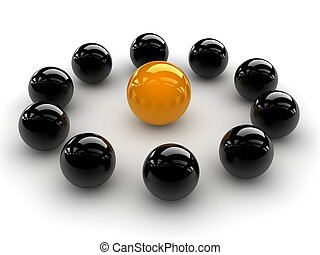 yellow sphere - a yellow sphere placed observably in a group...