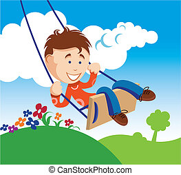 Boy on a Swing - An illustration of a young boy on a swing