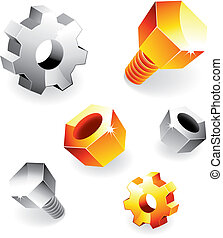 Connection Theme - Vector set of various metal design...