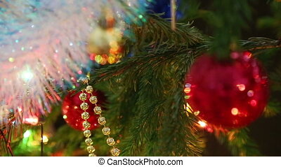 christmas decorations on fir closeup
