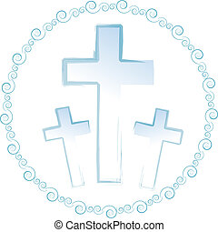 Crucifixes - Three blue crucifixes surrounded by a circle