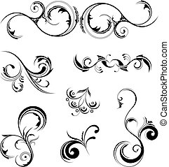 Design Elements - A set of various detailed floral design...