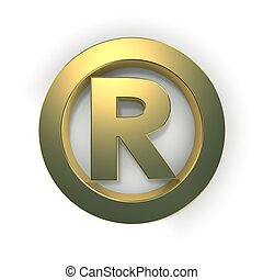 R sign - golden metallic R sign on white background