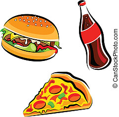 Fast Food - Cartoon illustration of various fast food:...