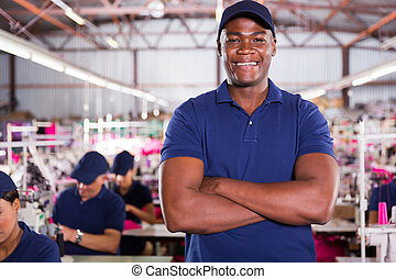 african american factory supervisor - handsome african...