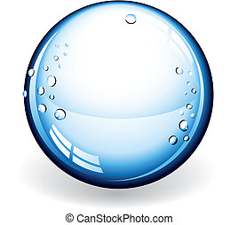 Glass Ball - An illustration of a blue glass ball with drops...