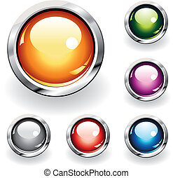 Glossy Buttons - Collection of six glossy buttons in various...