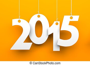 White tags with 2015 on orange background