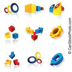 Modern Design Elements - A set of nine 3d design elements in...