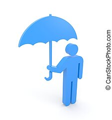 Person with umbrella - Sign and symbol Isolated on white