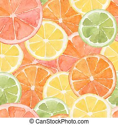 Citrus - Pattern made from slices of watercolor orange,...