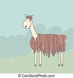 Cartoon lama - Cartoon funny alpaca on a green meadow