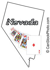 Nevada Royal Flush - A Nevada state outline with a royal...