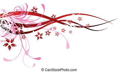 Red Flourishes - Various red floral design elements with...