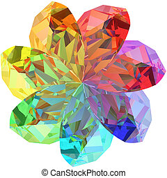 Flower shape composed of colorful gemstones isolated on white background