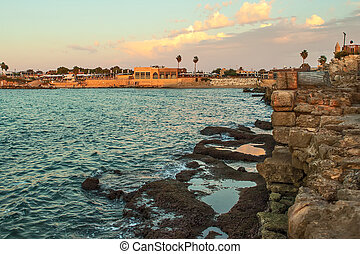 Caesarea before sunset - Nice view to coast in city Caesarea...