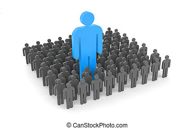 Standing out from the crowd - Success concept. Isolated on...