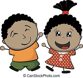 little brown childs - afro american happy children isolated...