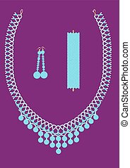 Jewelry set with turquoise.