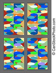 Stained-glass window - Wood frame windows of pieces of...