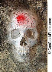 Scary Skull 3 - Scary Skull With Blood Spray