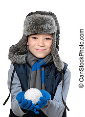 Winter boy - Winter fur hat clothing child boy with snowball...