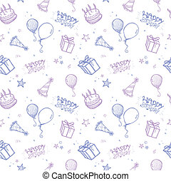 Seamless Birthday Background - A seamless hand drawn vector...