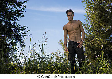 Gorgeous Young Topless Man at the Garden - Gorgeous Young...