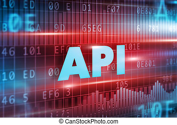 API concept red background with blue text