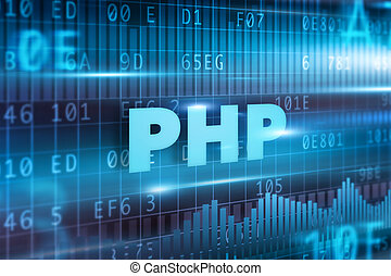 PHP concept blue background with blue text
