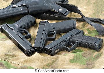 Conjunto, de, diferente, armas de fuego,