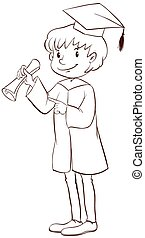 A plain drawing of a boy graduating - Illustration of a...