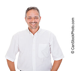 Smiling Man Standing Over White Background