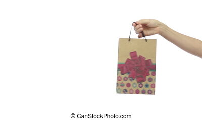 Giving A Present Bag Decorated - An isolated on a white...