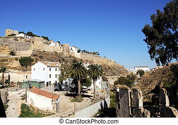 Castle & watermill, Antequera. - View of the castle and...