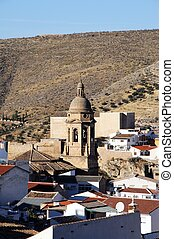 Town buildings, Loja. - View over the town rooftops towards...
