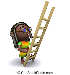 3d Rastafarian has a ladder - 3d render of a rastafarian...