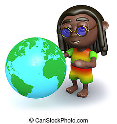 3d Rastafarian looks at a globe of the Earth - 3d render of...