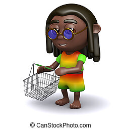 3d Rastafarian with an empty shopping basket