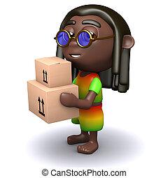 dozen, verdragend,  rastafarian, karton,  3D