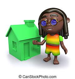 3D, rastafarian, a, a, vert, maison,