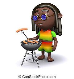 3D, heeft,  rastafarian,  Barbeque