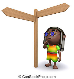 3d Rastafarian decides which way to go - 3d render of a...