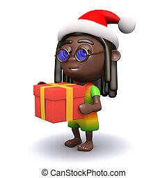 kerstman, Brengt,  rastafarian, cadeau,  3D