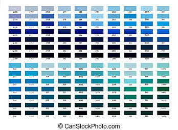 Colour reference illustration. Blue color shade from 2706 to...